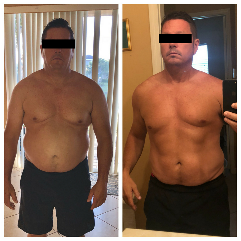 Man before and after medical weight loss program.